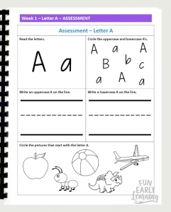 Letters and Phonics Alphabet Curriculum Assessment. This covers letter identification, letter writing, and letter sound correspondence for uppercase and lowercase letters.