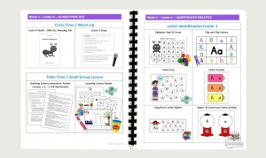 Letters and Phonics Alphabet Curriculum lesson plans. Detailed calendar with circle time, lesson plans, small group instruction, centers, activities, art projects, science experiments, and assessments.
