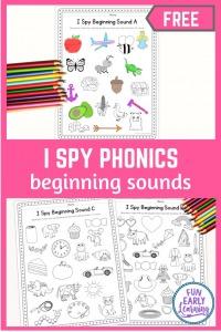 I Spy Beginning Sounds Free Worksheets! Fun phonics games for prek, preschool, kindergarten, and first grade learning phonemic awareness. Letter-sound correspondence activity.