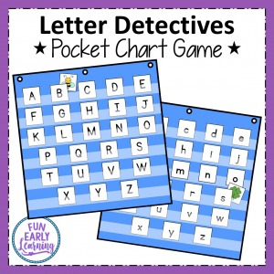 Letter Detectives Pocket Chart game for letter identification, beginning sounds, and letter sound correspondence. Fun game to play as whole group or small group in preschool and kindergarten.