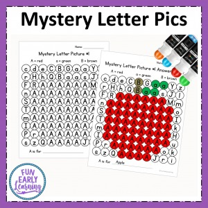 Mystery Letter Pictures alphabet activity for learning letter identification, beginning sounds and fine motor skills. Perfect for preschool and kindergarten.