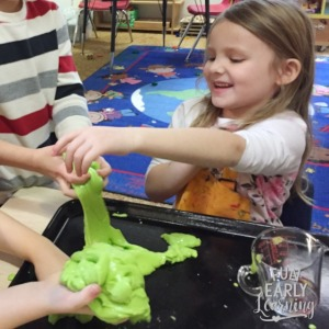 Fun Glitter Goop Sensory Bin activity. Included in the Letters and Phonics Alphabet Curriculum.