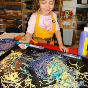 Fun Spaghetti Sensory Bin Art Project activity. Included in the Letters and Phonics Alphabet Curriculum.