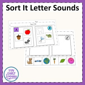 Sort It Letter Sound Correspondence activity for learning beginning sounds. Perfect no prep printable for preschool and kindergarten.