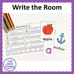 Letters and Phonics Alphabet Curriculum center activity. Letters and Phonics Write the Room hands on activity for letter identification and letter sounds.