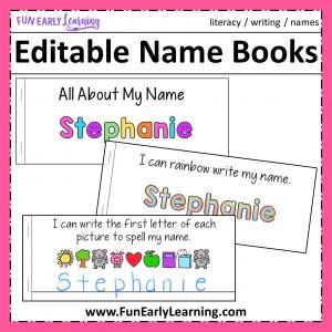 Editable Name Books fun name writing activities for preschool and kindergarten. 12 fun name activities per book!